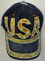 Denim Hat with Bling [USA] Gold